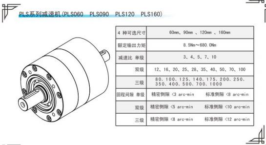 PLS系列行星减速机参数表